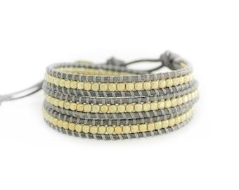 Golden Mist 3 Wrap Bracelet