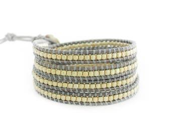 Golden Mist 4 Wrap Bracelet