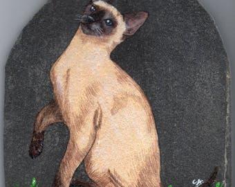 the Siamese cat pet portrait painting