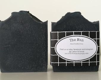 Activated charcoal soap, soap for men, black soap, palm free soap, cold process soap, handmade soap, soap favors, party favors, mens soap