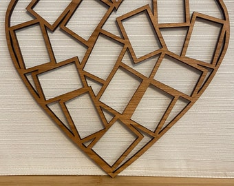 """Heart Picture Photo Frame 3/"""" Opening Shabby Chic Unfinished Wood Standing DIY"""