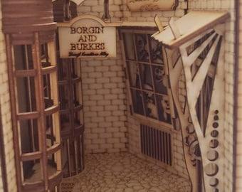 Alley Book Nook -  DIY Kit Book Nook Shelf Insert - Book End - Diorama