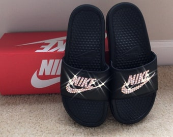 96fccdec65a9 Black and Rose Gold Nike Slides with Swarovski Crystals