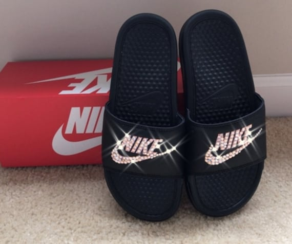 072619ec2e8 Black and Rose Gold Nike Slides with Swarovski Crystals