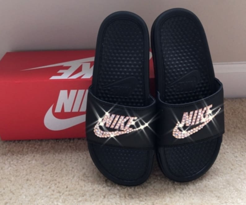 a434530157ac Black and Rose Gold Nike Slides with Swarovski Crystals