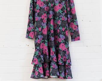 Vintage Floral Ruffle Dress