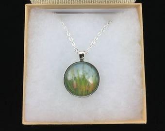 Beach Pendant, Dune Grass and Sky Necklace, Fine Art Necklace, Last Look Back, Wearable Art, Cabochon Pendant