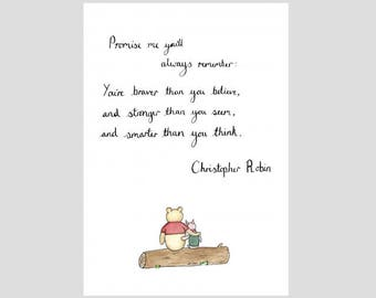 Winnie the Pooh - Quote - Stronger Braver Smarter - Watercolour painting and Calligraphy - Print - gift idea - Available in A4, A5 or A6