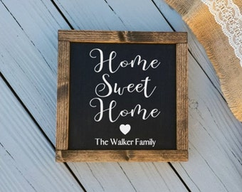 Custom Home Sweet Home Sign -  Last Name Home Sign - Framed Personalized Signs - Home Sign - Black Home Sweet Home Sign - Farmhouse Decor