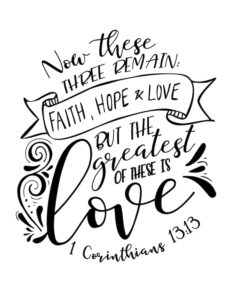 Calligraphy / Lettering Practice Bible Verse - Faith, Hope and Love - Sizes  US Letter and A4