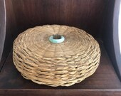 Vintage Sweet Grass Basket With Lid and Jadeite Ring