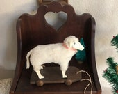 Vintage Reproduction Putz Sheep Pull Toy, Signed Twins, 1992, Primitive Folk Art Reproduction Sheep