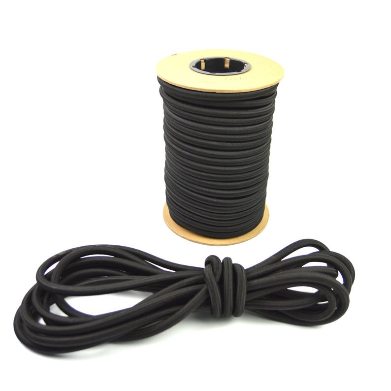 "250ft 1//4/"" Black Shock Cord Marine Grade Bungee Heavy Duty Tie Down Stretch Rope"