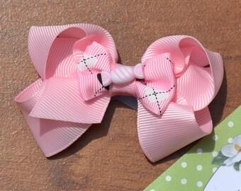 991a05f37c73d0 Meisjes haar boog gestapeld roze gedraaide lus Boutique Bow, peuters, grote  meisjes, Tweens, tieners