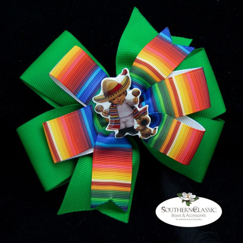 Mexican Hair Bow Handmade Epoxy Resin Boy with Sombrero Center Striped Serape Bow Cinco de Mayo Bow Serape Stacked Boutique Bow