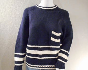 80s preppy, nautical,collegiate, sweater size medium women's, ramie and cotton