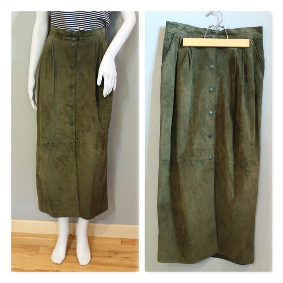 GREEN SUEDE MAXI Skirt long leather skirt vintage