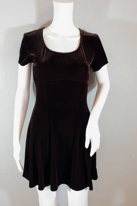90s Velvet Skater dress dark brown size small fit and  511c319aa