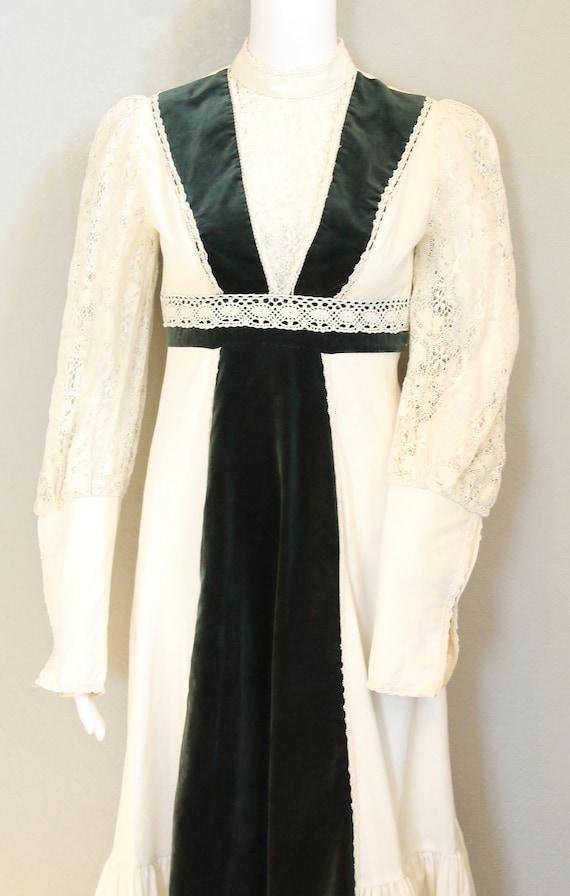 70s PRAIRIE DRESS/velvet, boho maxi dress, hippie… - image 3