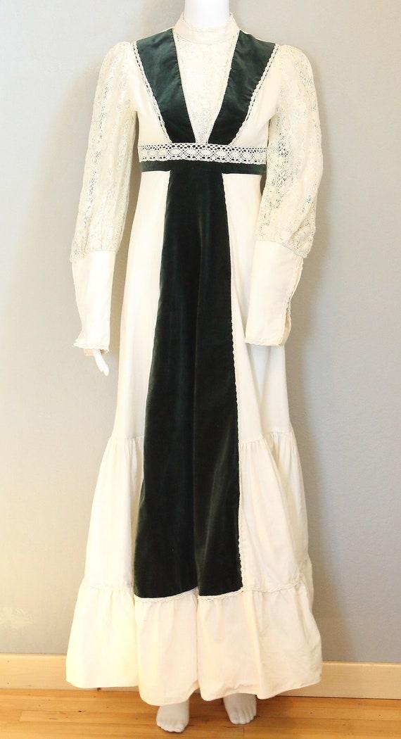 70s PRAIRIE DRESS/velvet, boho maxi dress, hippie… - image 1