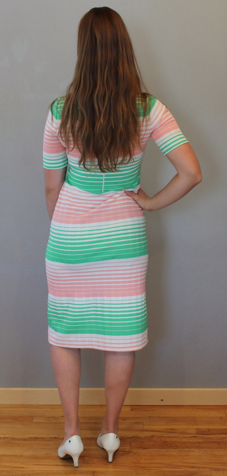 White Knit Dress Ribbed Mock Neck 60/'s Vintage Mod Striped Dress Pink Green