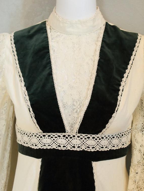 70s PRAIRIE DRESS/velvet, boho maxi dress, hippie… - image 4