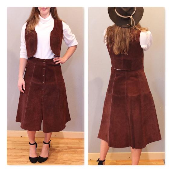 70's SKIRT & VEST leather set suede dark brown but