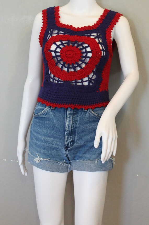 70's crochet vest/tank top/granny square blue and