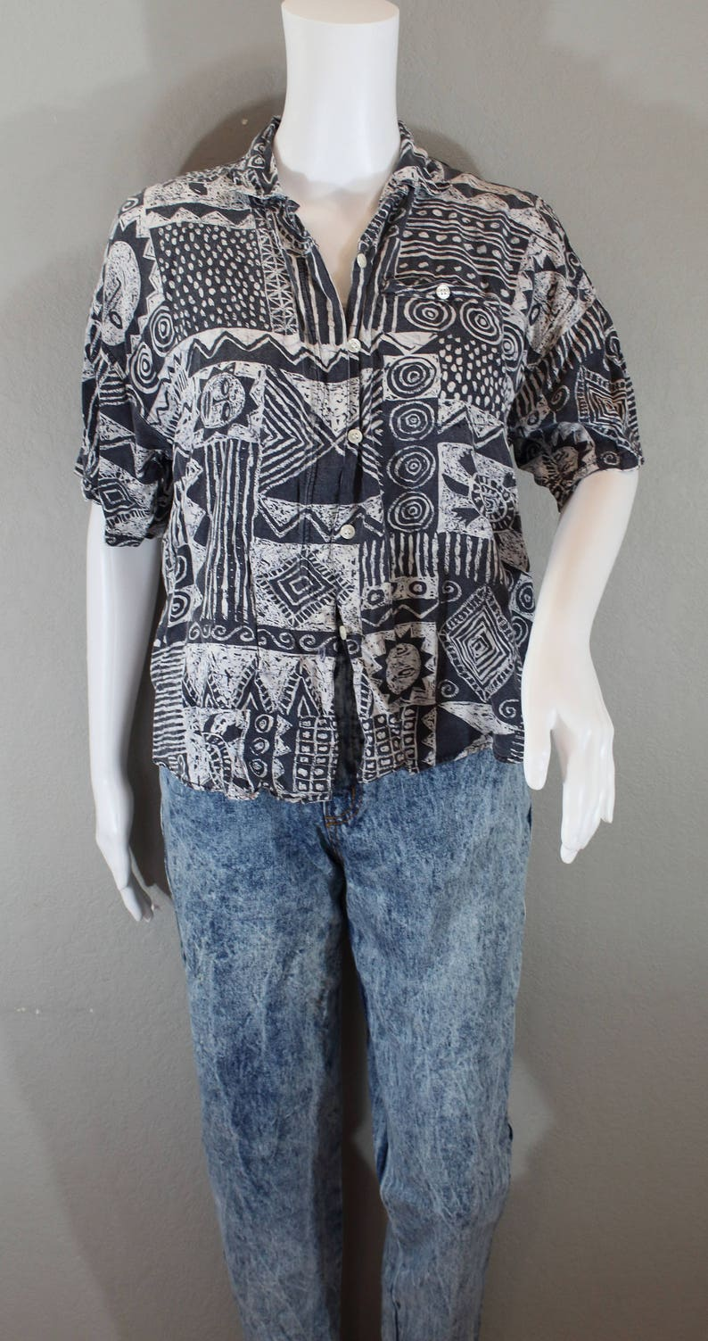 Vintage Hawaiian Shirt celestial black and white sun and turtles