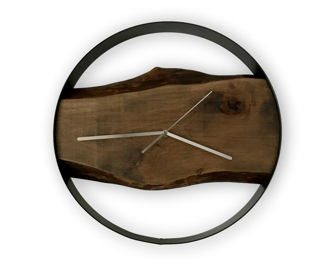 Featured listing image: Minimalist Live Edge Birch wall clock