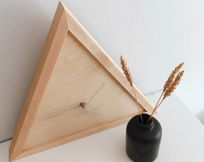 Featured listing image: Minimalist triangle birch wood clock.