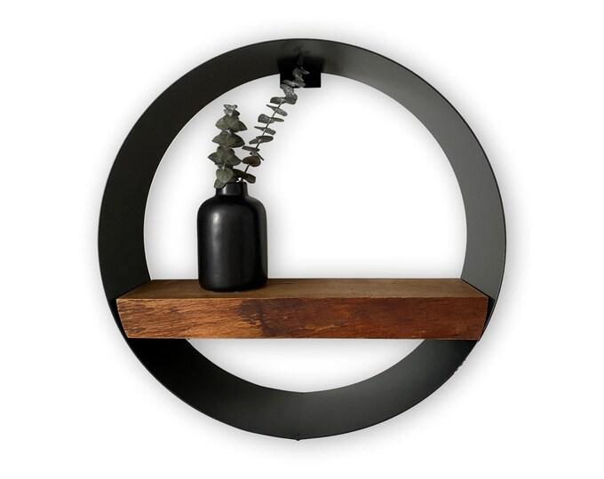 Featured listing image: Minimalist round live edge birch wall shelf