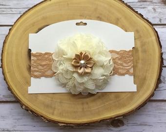 Baby headband, fancy headband, elegant baby headband, flowers headband, ready to ship