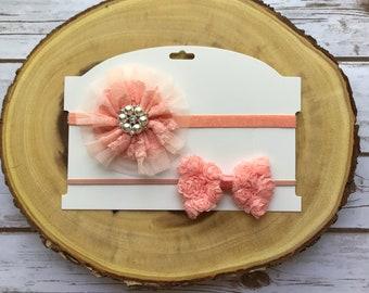 Baby headband set, peach headband, elegant headband, fancy headband, ready  to ship