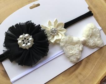 Baby headband set, black and white headband set, fancy headband, elegant headband reasonably to ship