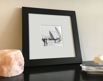 Black and White Drawing of the Sydney Opera House in Australia