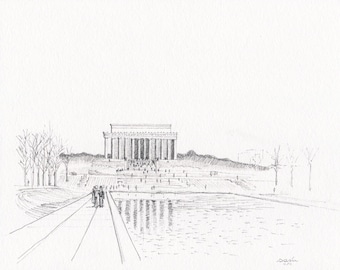 Lincoln Memorial and Reflecting Pool - Drawing in Pen