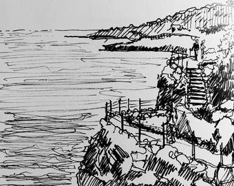 Black and White Drawing of the Cliffs of Cap d'Antibes on the French Riviera