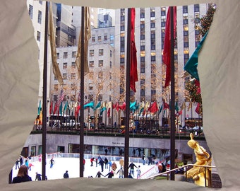 Christmas in NY Rockefeller Center Ice Skating Rink Photo Pillow Cover flags banners lights