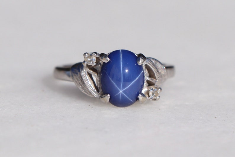 47c37d39457d2 Created Lindy Star Sapphire and Diamond Accent Vintage Ring - 14K White  Gold with Brushed Detials Cocktail 1960s Ring