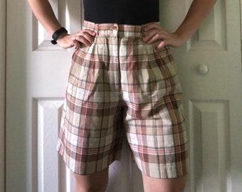 Talbots long plaid shorts / bermuda shorts / checkered above knee shorts