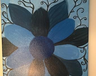 Monochromatic Flower, 8x11 in, Canvas
