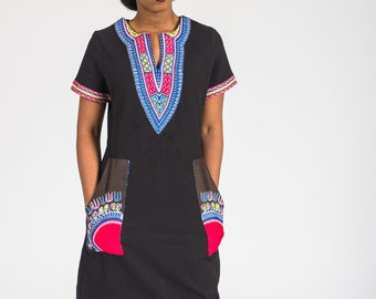 African Dashiki Print T-shirt Dress with big Pockets