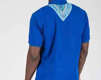 Men's African Dashiki Print Polo T-shirt
