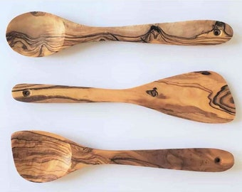 Olive Wood 3-piece Spoons set( spatula, regular spoon and spoon with edge for corners) Best for non stick pan, Teflon and cast iron