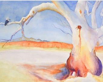 Kookaburra Sits in the Old Gum Tree - professional giclee quality watercolor art print Australia art