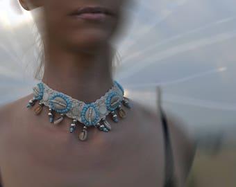 Baby blue choker,Burning Man, Festival Clothing, Burning Man Clothing Women, Rave Accessories,Music Festival Clothing, Christmas, shells