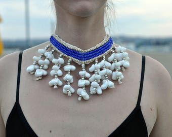 Tribal shell necklace,Burning Man, Festival Clothing, Burning Man Clothing Women, Rave Accessories,Music Festival Clothing