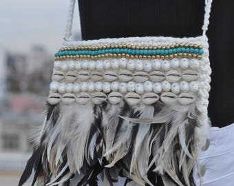 Black & white feather bag, purse, clutch, Cross Body Boho Bag, Festival Clothing, Burning Man Accessories Women, Rave Accessories