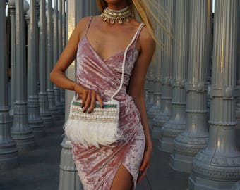 White feather bag, clutch, Cross Body Boho Bag, Festival Clothing, Burning Man Accessories Women, Rave Accessories, clutch